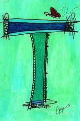 Featured Art - T Monogram by Joyce Auteri