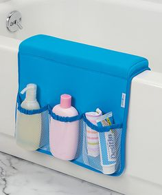 Take a look at this Blue Bath Tub Saddle Storage Caddy today!