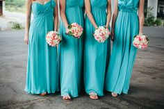 aqua and pink bridesmaid color scheme