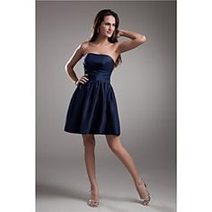 Formal Evening Dress A-line Strapless Short/Mini Taffeta Dress