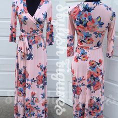 Maxi Dress Coral color maxi dress with 3/4 sleeves. Beautiful dress for any occasion! Dresses Maxi