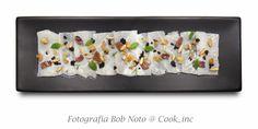 Carpaccio di baccalà con pane croccante alle olive, menta, acciughe, pinoli - Chef Andrea Ferrero - tartuflanghe