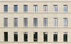 Another view of the facade of the Federal Ministry of Labor and Social Affairs in Berlin by Kleihues+Kleihues.