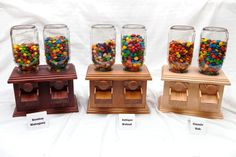Hand-made Double Wooden Candy Dispenser - M&m Peanut Skittles Snack - Wood Candy…