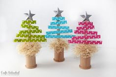 Craft Stick Christmas Trees--full tutorial