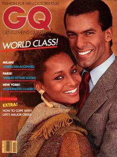 GQ, October models Charles Williamson and Sheila Johnson at their peak. I met him. Gq Magazine Covers, Magazine Ads, Black Male Models, Dior, Black Magazine, Editorial, Gq Men, Vogue, Black Books