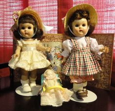 50s Ginny Dolls by Vogue  Ginny was one of the most popular 8 inch child dolls of all time. Introduced in 1951, Ginny had the height of her popularity during the 1950s, but she is still in production today. She has always had a panoply of clothing and accessories available for her.  My granddaddy gave me my 1st one.