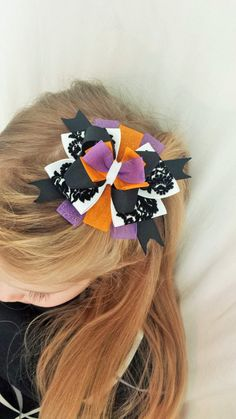 Stacked Halloween Hair Bow by TeensyThings on Etsy, $3.50