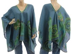 Artsy boho linen poncho cape in blue handpainted  / by classydress