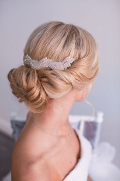 Bridal updo with hair piece