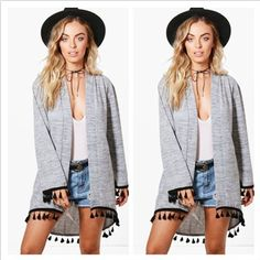 Women Long Sleeve Loose T Shirt Outwear Coat Casual Tassel Tops Blouse Cardigan