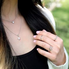 New to the layered rings game? We got you covered! One great way to flaunt your ring set is to make a triangle shape. This creates a perfect symmetrical balance that is aesthetically pleasing to the eye. Try it for yourself!