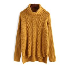 SheIn(sheinside) Yellow High Neck Cable Knit Sweater ($30) ❤ liked on Polyvore featuring tops, sweaters, sheinside, yellow, cable turtleneck sweater, loose sweater, turtleneck sweater, acrylic sweater and yellow sweater