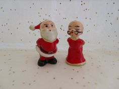 Miniature Kissing Santa & Mrs Vintage Christmas Miniature Kissing Santa