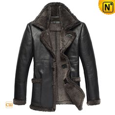Men's Fur Leather Coats Luxury Designer Black Fur Lined Leather Coat CW819436 $1438.89 - www.cwmalls.com