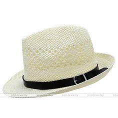Summer Beach Hats Trilby Floppy Fedora Straw Wide Brim Sun Hat For Men Women #03 #HatsForWomenFloppy