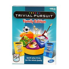 With cards for kids and adults the whole family can get a kick out of this fun-filled Family Edition of Trivial Pursuit! Family members of all ages can test their smarts with question after question ...