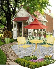 A home decor collage from November 2012 featuring red patio umbrella, painted planters and white flower bouquet. Browse and shop related looks. Potting Sheds, Treehouses, Garden Sheds, The Ranch, Barns, Terracotta, White Flowers, Cottages, Flower Pots