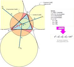 Geometry Problem 159. Distances from the Circumcenter to the Incenter and the Excenters. Level: High School, College, Mathematics Education.