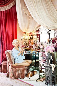 Christina Aguilera's boudoir in her Beverly Hills mansion (a boudoir means a lady's private bedroom)
