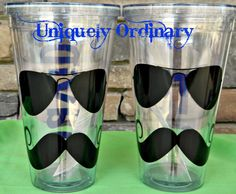 Sunglasses & Mustache Tumbler  Personalized for by cindirellar, $15.00