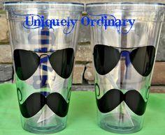 Sunglasses & Mustache Tumbler  Personalized for by cindirellar, $15.00