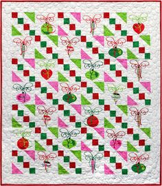 "Garlands and Tree Globes, 38"" X 43"", by Janet Locey at Hen Scratch Quilting.   Easy four patches and half square triangles."