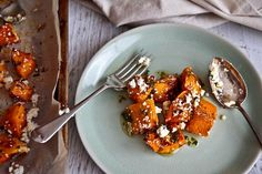 Roast Pumpkin With Feta & Honey Would also be nice with broccoli, zucchini & cauliflower