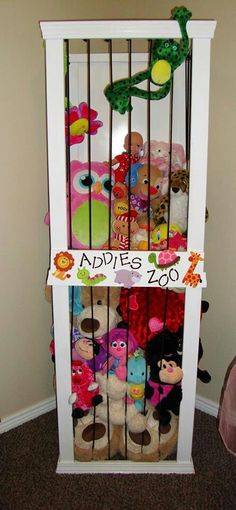 Kids always end up with a ton of stuffed animals what a great way to display them and keep them contained!