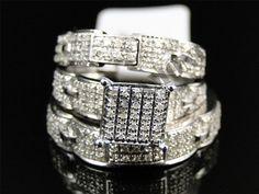 14K Yellow Gold Over Diamond Trio Set Matching Engagement Ring Wedding Band 3C #ElleDiamonds #TrioRingSet #Engagement