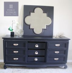 Black Lacquer Dresser / Buffet / Changing Table with Gold Hardware by Indigo Interiors on etsy www.IndigoInteriors.etsy.com Austin gold handles black painted dresser glam bedroom console Tv Stand table z gallerie style