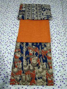 Cotton Dress Material with cotton plain top and Kalamkari bottom and duppatta