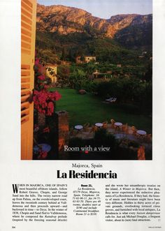 "25 Years of ""Room with a View"" Photos : Condé Nast Traveler::  ROOM 21  MAJORCA, SPAIN  October 1991"