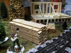 Miniature Pile of Lumber for Building Scenery , Model Railroad O Gauge Layouts or Fairy Gardens on Etsy, $10.99