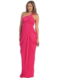 One Shoulder Greek-Inspired Prom Dress, style# S29743 ($118.00).  Available in fuschia, black, and white.  Get yours today @ www.SungBoutiqueLA.com!