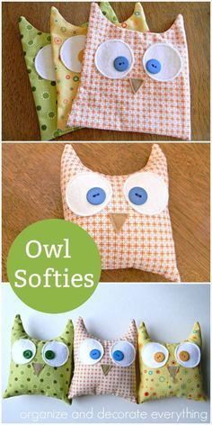Sewing Projects For Kids Make Owl Softies using a simple shape and a variety of fabrics you probably already have. - Make owl softies using a simple shape and a variety of fabrics you probably already have. Sewing Toys, Baby Sewing, Sewing Crafts, Owl Sewing, Softies, Sewing Hacks, Sewing Tutorials, Sewing Basics, Sewing Stuffed Animals