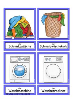 Waschtag _ Flashcards klein German Language Learning, Learn German, Worksheets, Diy And Crafts, Teaching, School, Kindergarten, Laundry, Puzzle