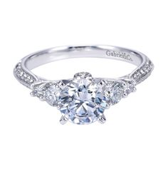 14K White Gold Contemporary 3 Stone Engagement Ring