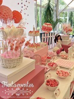 candy party, first communion, candy t Candy Table, Candy Buffet, Dessert Table, Fiesta Decorations, Party Decoration, Table Decorations, Ballerina Birthday, Baby Birthday, Birthday Brunch