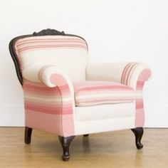 BLANKET by Maresa Patterson for NUBE HOME Posh Pink Chair >> SEATTLE, WA >> Plush and cozy, a well-proportioned chair with a flair for storytime or evening tea. Overstuffed antique armchair with Victorian styling in carved wood and playful plaid vintage w