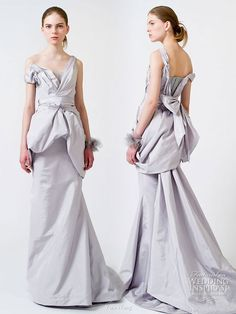 2011 Vera Wang Wedding Dress - light blue-gray asymmetric gown with train -- Vera Wang Spring 2011 Wedding Gowns Famous Wedding Dresses, Colored Wedding Dresses, Bridal Dresses, Wedding Gowns, Girls Dresses, Flower Girl Dresses, Bridesmaid Dresses, Bridesmaids, Prom Dresses