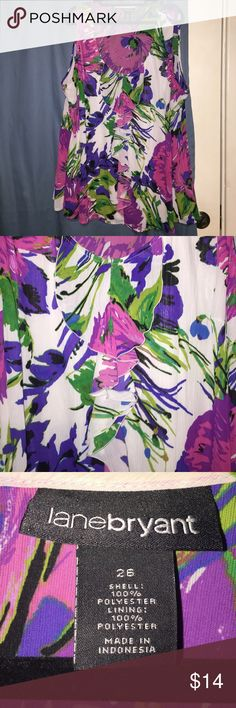 Floral Top Sleeveless floral top with ruffle design on front. Only worn a handful of times! Lane Bryant Tops