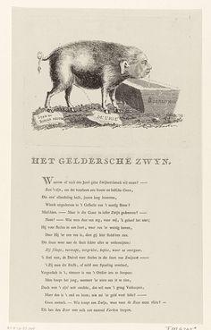 Anonymous   Spotprent op Willem V, 1786, Anonymous, Jan Verlem, 1786   Spotprent op stadhouder Willem V, 1786. De prins afgebeeld als een zwijn dat drinkt uit een bak met Bourgogne wijn en tegelijkertijd spuugt, de stads- en burgerrechten vertreedt en urineert op de Unie. Op het blad onder de plaat een vers van 18 regels.