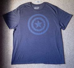 NEW Men(3XL) CAPTAIN AMERICA T-SHIRT Soft Poly/Cotton Heather Blue Marvel Comics #OldNavy #GraphicTee