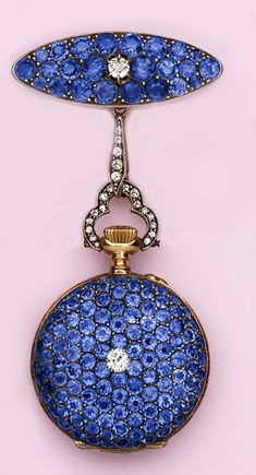 Edwardian Pavé Montana sapphire, diamond and gold pendant watch