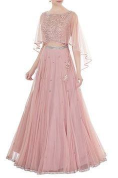 Buy Old rose embroidered net & silk blouse with net cape by Zoraya at Aza Fashions - Buy Old rose embroidered net & silk blouse with net cape by Zoraya at Aza Fashions Source by - Long Gown Dress, Lehnga Dress, The Dress, Lehenga Choli, Cape Lehenga, Cape Gown, Designer Party Wear Dresses, Indian Designer Outfits, Indian Outfits