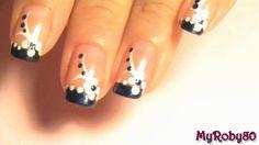 Nail Art Tutorial  1 •  Blu & White Flower