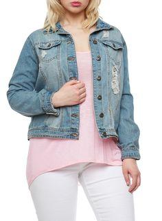 48d042226c4 Plus Size Highway Jeans Distressed Denim Jacket