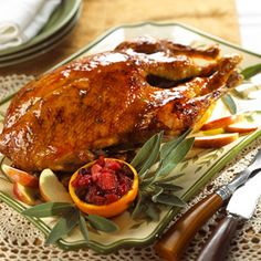 Holiday Roast Goose Geese are as easy to cook as a turkey or big chicken. Brushing on a flavorful syrup near the end of roasting adds a dramatic glaze to the bird making it an excellent holiday entree.