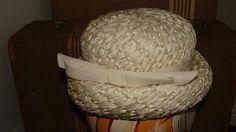 Winter White Woven Round Dome Ladies Hat 1950-60s Union Label Rolled Brim  Rockabilly Pin 9edb0bf6fa38